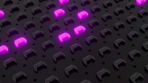Black joysticks on a black textured surface