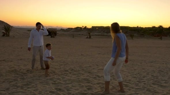 Thumbnail for Family Playing Football On a Beach