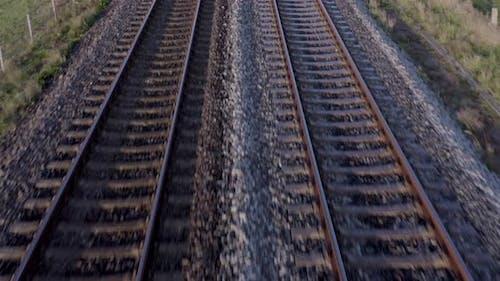 Railway Tracks in the Morning Establishing