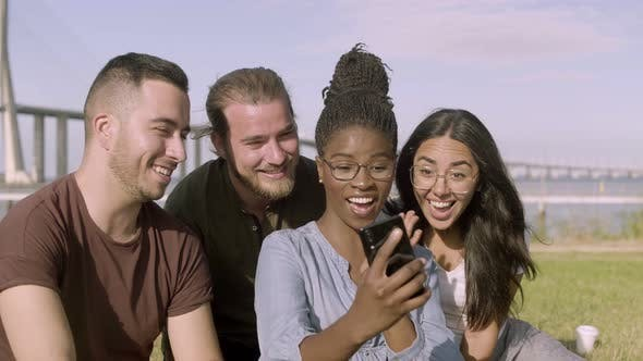 Thumbnail for Happy Friends Taking Selfie with Smartphone at Park