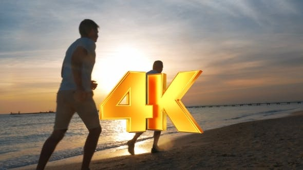 Thumbnail for Evening Jogging Along The Beach At Sunset