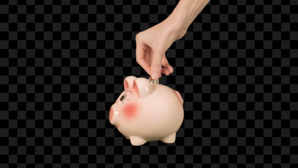 Thumbnail for Hand Putting Coins Into Piggy Bank
