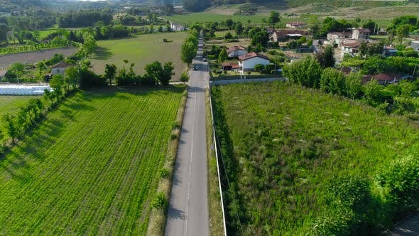 Drone View of Countryside Asphalt Road with Cars