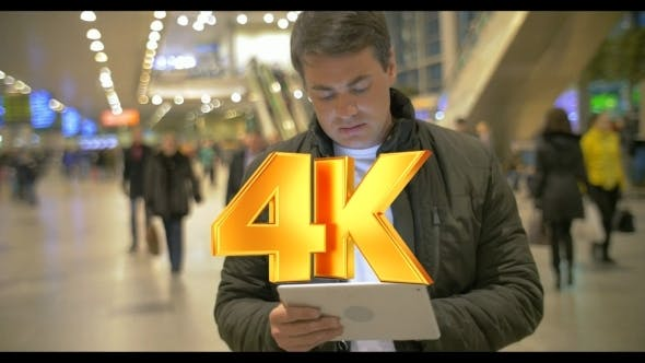 Thumbnail for Man Using Digital Tablet In Airport Hall