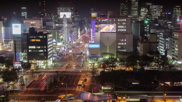 Thumbnail for Nagoya Main Highway Big Traffic at Night Timelapse