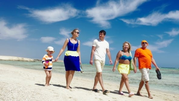 Thumbnail for Family Having Enjoyable Walk On The Beach