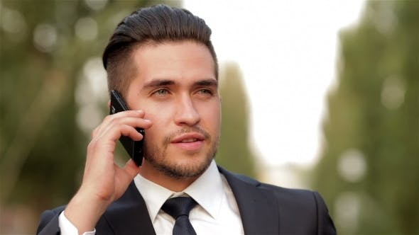 Cover Image for Young Businessman Talking On Mobile Phone
