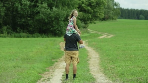 Thumbnail for Father Walking Road Daughter Sitting On His Neck