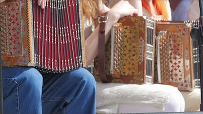 Set of Accordion Players Sitting
