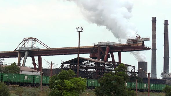 Thumbnail for Gantry Crane and Rail Cars at a Steel Plant