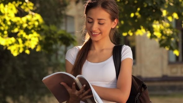 Cover Image for Beautiful Student Searching For Her Notes