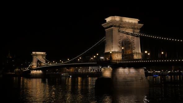 Szechenyi Chain Bridge  by night in Budapest Hungary over river Danube 4K 2160p UltraHD footage -  C