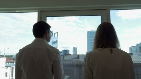 Cover Image for Two Businesspeople Go To Window In The Office