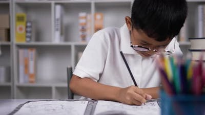Boy doing homework at desk.