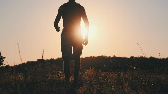 Thumbnail for Silhouette of Young Man Walking in Field To Setting Sun and Raising Hands Up