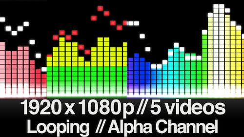 5 Audio Equalizer Videos - Straight Bars - LOOPED