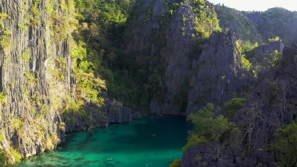 Thumbnail for Twin Lagoon Lake in Coron, Palawan, Philippines. Mountain and Sea