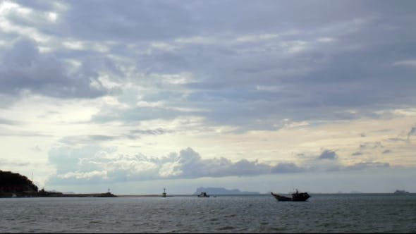 Thumbnail for Seascape: Thailand Fishing Boat In The Sea