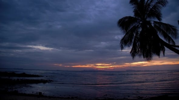 Thumbnail for Tropical Sunset Over The Sea On The Beach