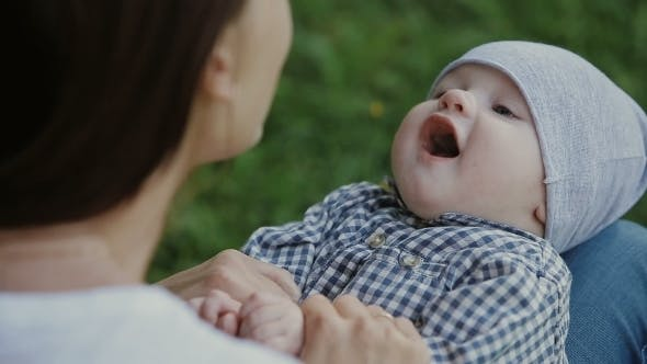Thumbnail for Happy Baby Boy Playing With Mother In The Park