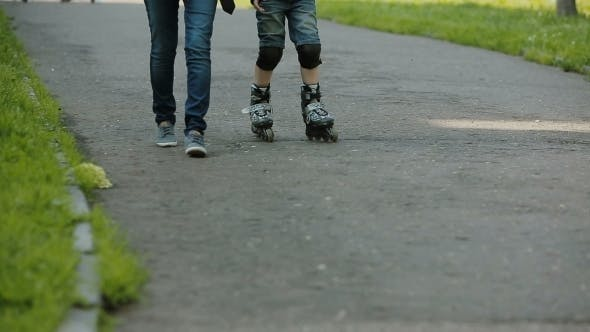 Thumbnail for a Little Boy Learning To Roller Skate
