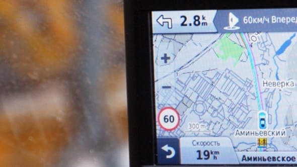 Thumbnail for GPS In Car Showing Way, Speed And Distance