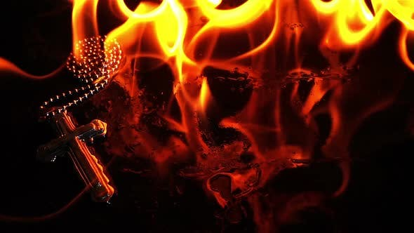 Thumbnail for Christianity Religion Symbol Cross And Fire Burning 2