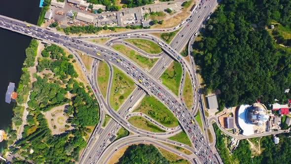 Aerial View of Paton Bridge Highway Junction in Kiev