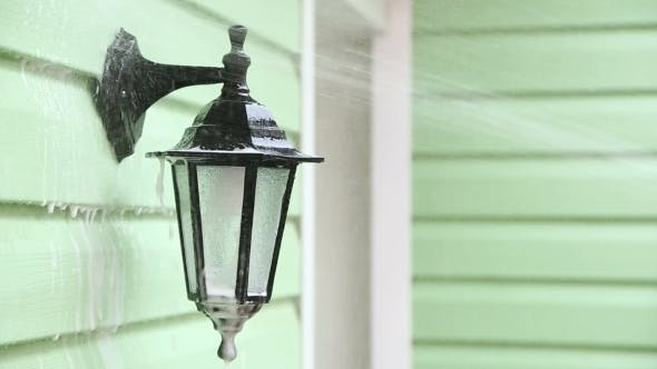 Thumbnail for Jet Of Water Washing Foam Off Street Lamp