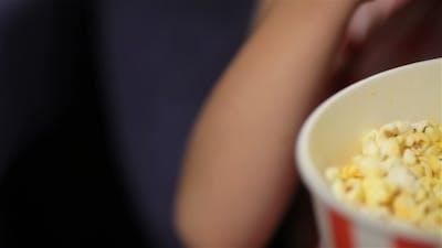 Beautiful Little Girl Waching Movie In The Cinema
