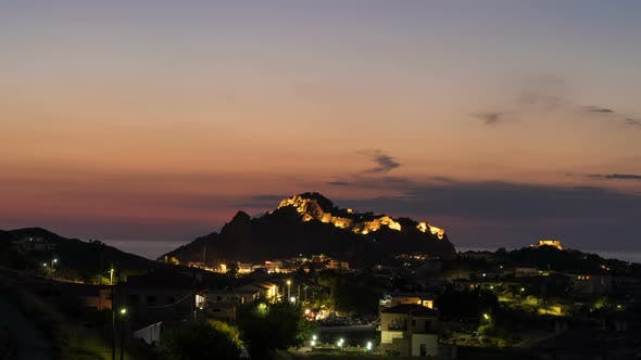 Thumbnail for Time Lapse of Nightfall in Myrina, Greece with Scenic Lights at Byzantine Castle in Lemnos