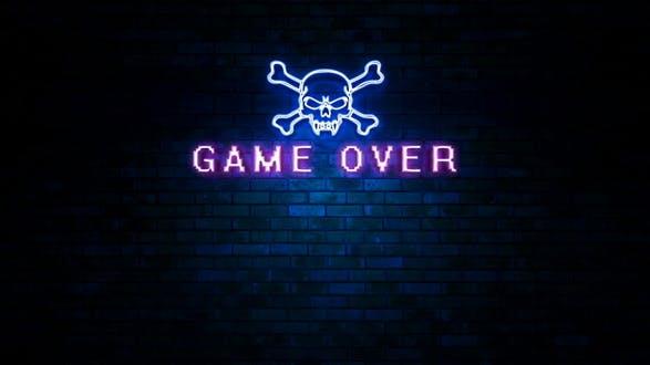 Game Over Skull Neon Light Sign