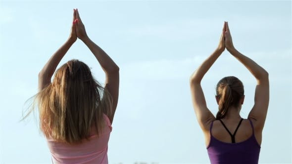 Thumbnail for Two Beautiful Girls Doing Yoga In The Park