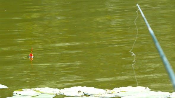 Thumbnail for Fishing Pole, Bobber Floating In Lake
