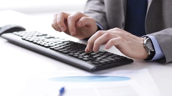 Cover Image for Close Up Of Businessman Hands Typing On Keyboard 16