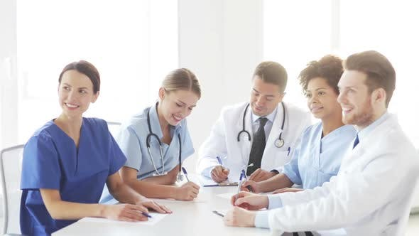 Thumbnail for Group Of Doctors Meeting At Seminar In Hospital 3