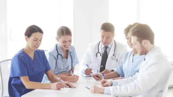 Thumbnail for Group Of Doctors Meeting At Seminar In Hospital 4