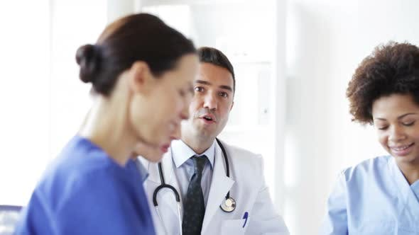 Thumbnail for Group Of Doctors Meeting At Seminar In Hospital 9