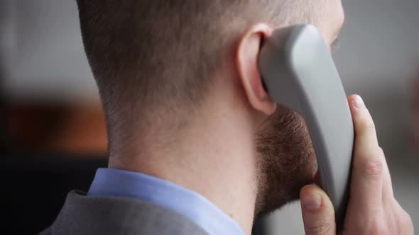 Thumbnail for Close Up Of Businessman Head Calling On Phone