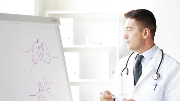 Thumbnail for Happy Doctor Showing Medical Drawing On Flip Board 1