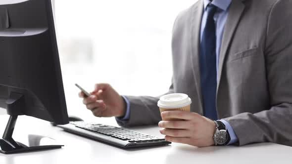 Thumbnail for Close Up Of Businessman With Smartphone And Coffee 1
