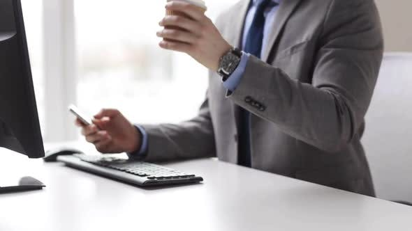 Thumbnail for Close Up Of Businessman With Smartphone And Coffee 3