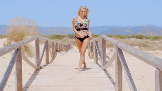 Thumbnail for Happy Woman Walking At The Beach Pathway
