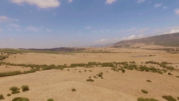 Thumbnail for Aerial View From Flying Drone Over Dry Field
