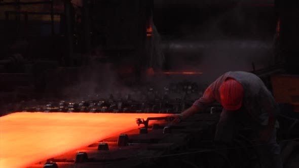 Cover Image for Rolled Sheets of Metal Red Hot Metal Worker