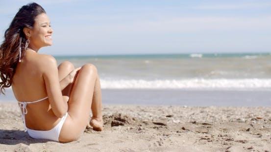 Thumbnail for Happy Vivacious Woman On a Tropical Beach