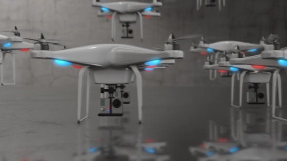 Thumbnail for Group of Small UAV Drones Taking Off