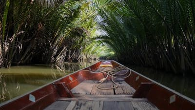 Thai Boat Floating In Jungle