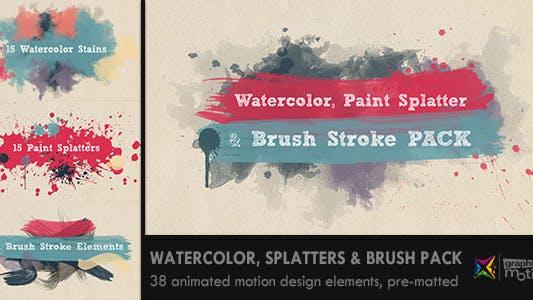 Thumbnail for Watercolor, Paint Splatters & Brush Stroke PACK