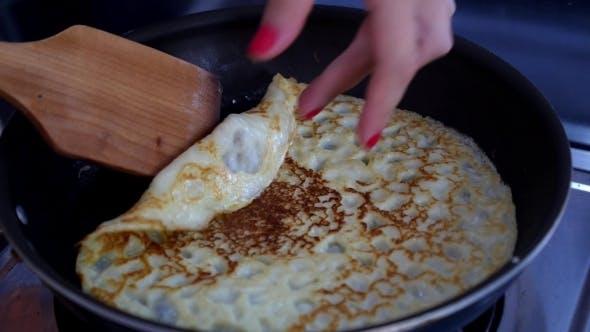 Thumbnail for Making Pancake On Frying Pan, Crepes